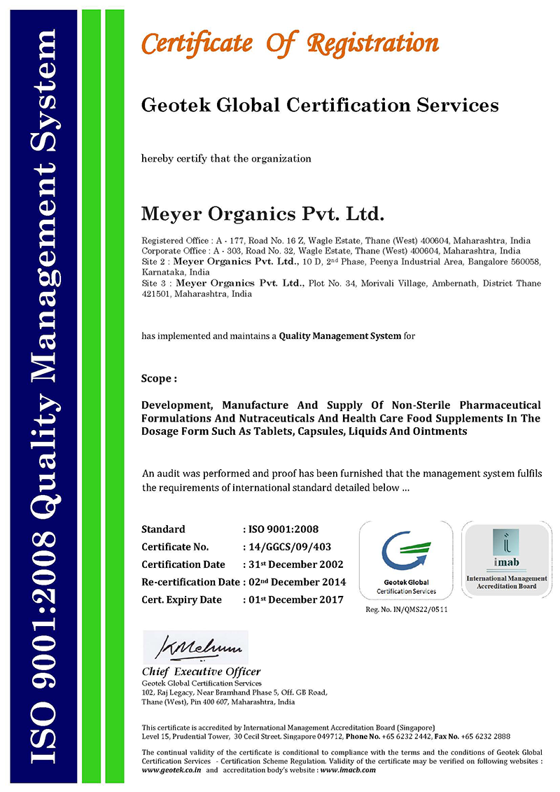 Corporate Profile Meyer Organics Pvt Ltd